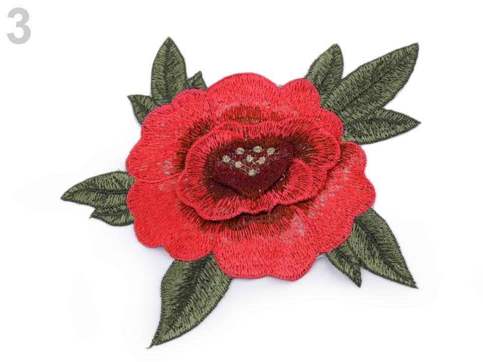 Nagy hímzett rózsa aplikáció 3D Dakazu